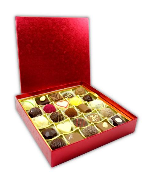 Hochwertige rote Schachtel mit Prägung 25 Pralinen