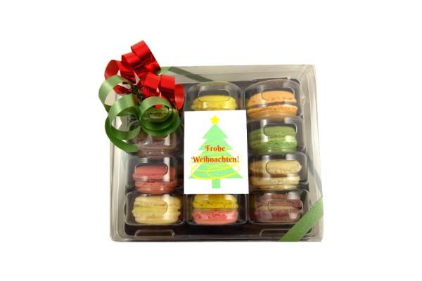 Weihnachtliche Macarons-Schachtel mit 12 Macarons